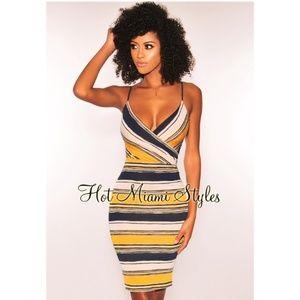 Hot Miami Styles Dijon Navy Striped Dress
